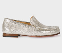 Metallic Silver Leather 'Danny' Loafers