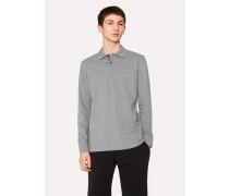 Grey Organic-Cotton Zebra Logo Long-Sleeve Polo Shirt