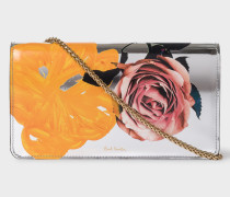 Silver 'Rose' Leather Clutch Bag