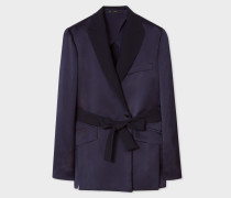 Navy Satin Wrap Tuxedo Blazer