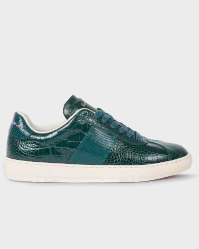 Teal Mock-Croc Leather 'Levon' Trainers
