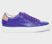 Cobalt Blue Leather 'Basso' Trainers With Signature Stripe Trims