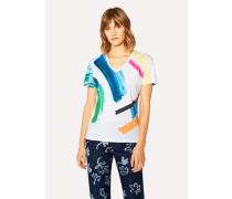 V-Neck Multi-Colour 'Paint Strokes' Print T-Shirt