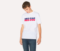 White 'Mirrored' Red Ear Print T-Shirt