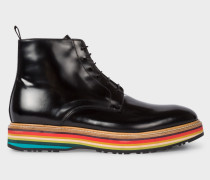 Black High-Shine Leather 'Corelli' Boots With Multi-Coloured Soles
