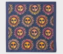 Navy 'Sun' Print Silk Pocket Square