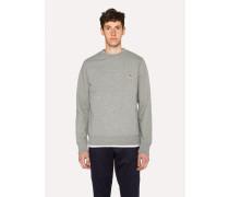 Grey Marl Organic-Cotton Zebra Logo Sweatshirt