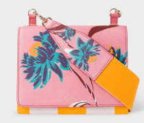 Pink 'Pacific Rose' Print Calf Leather Cross-Body Bag