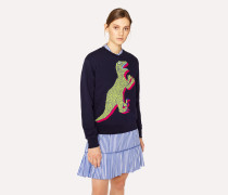 Navy Large 'Dino' Print Cotton Sweatshirt
