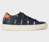 Navy Leather 'People' Print 'Basso' Trainers