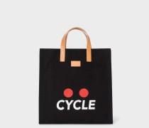 'Cycle' Print Black Canvas Tote Bag