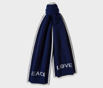 Navy 'Peace & Love' Wool Scarf
