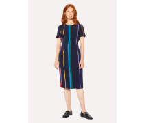 Navy 'Brush Stripe' Print Shift Dress