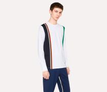 White Block-Stripe Long-Sleeve T-Shirt