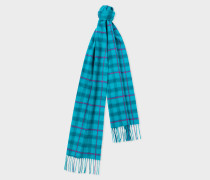 Turquoise Check Cashmere Scarf