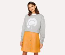 Grey Embroidered Flower Cotton-Blend Sweatshirt