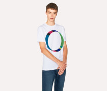 White Circular 'Cycle Stripe' Print Organic-Cotton T-Shirt