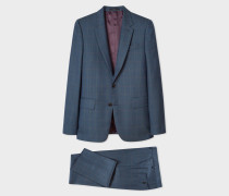 The Soho - Tailored-Fit Dark Teal Windowpane Check Wool Suit