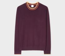 Damson Wool Sweater With 'Artist Stripe' Collar