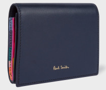 Navy 'Concertina Swirl' Leather Card Wallet