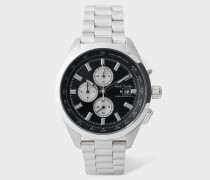 Black And Stainless Steel 'Chrono' Chronograph Watch