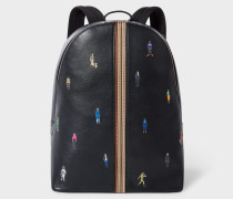 Navy Leather 'People' Motif Backpack