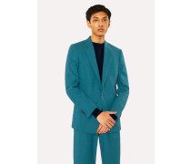 Slim-Fit Teal Houndstooth Wool Blazer