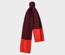 Burgundy Cable-Knit Scarf With Contrasting Ends