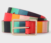 'Artist Stripe' Print Leather Belt