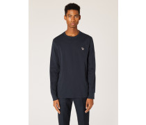 Dark Navy Organic-Cotton Zebra Logo Long-Sleeve T-Shirt