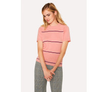Pink Stripe Cotton Short-Sleeve Sweater