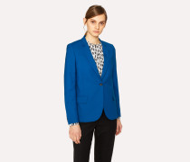 Blue Wool-Hopsack Blazer With Pink 'Enso Floral' Lining