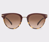 Burgundy And Spotted Tortoiseshell 'Jaron' Sunglasses