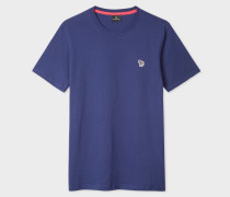 Indigo Organic-Cotton Zebra Logo T-Shirt