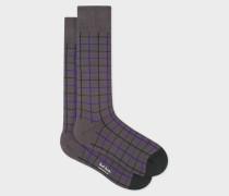Grey Grid Check Socks