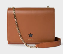 Tan 'Star' Cutout Leather Shoulder Bag