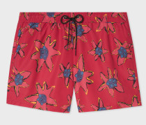 Red 'Torn Floral' Print Swim Shorts