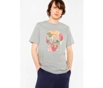 Grey 'Floral Skull' Print Organic-Cotton T-Shirt