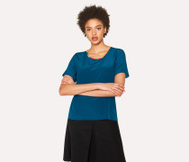 Petrol Blue Silk Top With Multi-Coloured Trim