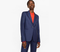 A Suit To Travel In -  Navy Puppytooth One-Button Wool Blazer