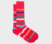 Red Multi-Coloured Stripe Socks