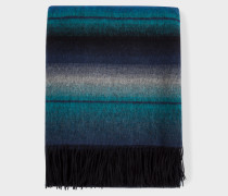 Blue Rainbow Stripe Lambswool Blanket