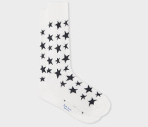 Cream 'Star' Jacquard Socks