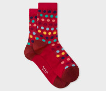Red Polka Dot Semi-Sheer Socks