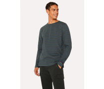 Slate Blue And Khaki Stripe Cotton Long-Sleeve T-Shirt