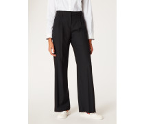 Black Wool Parallel Leg Trousers