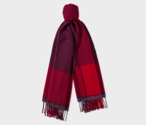 Damson And Red Asymmetrical Check Wool Scarf