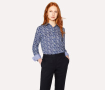 Navy 'Cherry Blossom' Print Cotton Shirt