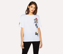 White 'Badges' Print T-Shirt With Removable Pin Badges