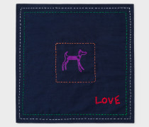 Navy Doodle Pattern 'Love' Pocket Square